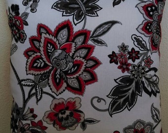 Floral Print Throw Pillow with Red Back