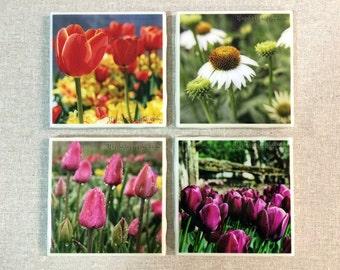 Tile Coaster Set - Flower Images