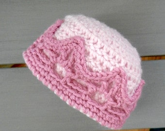 Princess Vegan Hat Baby Girl PINK Dark Light, CROWN, 1month to 12months sizes, CUSTOM, crochet acrylic Organic Cotton, soft cute sweet gift