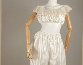 Secret Satin Sissy's Satin Sissy Victorian Vintage Style Camisole Crop-Top and Bloomers Set