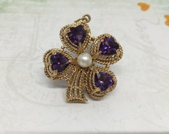 Stunning 14k lucky four leaf clover pendant with amethysts and Pearls