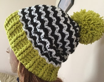 Crochet multicolor hat with pompom, great for kids also