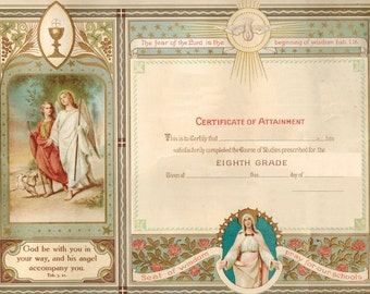 Vintage edited Catholic Graduation 8th grade Diploma