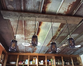 Pendant Mason Jar Lights, Edison Bulbs, Reclaimed Wood Base