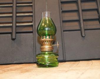 Green Kerosene Lamp , Vintage Green Lamp , Small Kerosene Lamp , Small Green Lamp , Green Oil Lamp