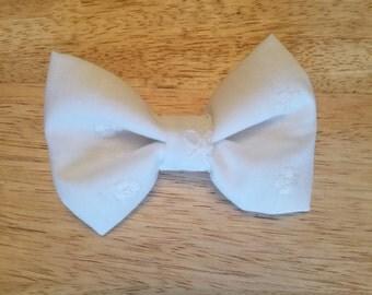 White Eyelet Bow