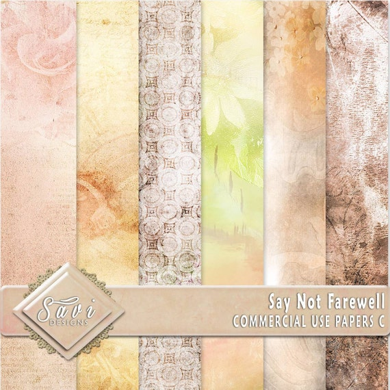 CU Commercial Use Background Papers set of 6 for Digital Scrapbooking or Craft projects Say Not Farewell Set C Designer Stock Papers
