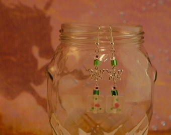 Butterfly and Square Floral Earrings