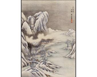 Winter Scene Print - Japanese Landscape Print - Japanese Vintage Print - Japanese Wall Art - Digital Download - Digital Print - Seki Shuko