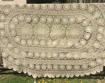 Stunning Vintage French Ecru Cotton Hand Crocheted Tablecloth