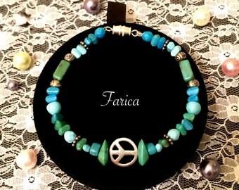 Turquoise Beaded Peace Symbol Bracelet Farica Design