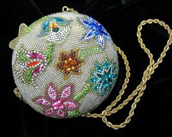 J & M Hansen Designs Rare Swarovkzi Crystal Flower Clutch