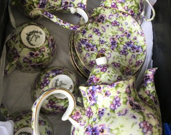 Royal Danube purple pansy tea set