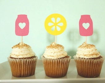 Pink Lemonade Cupcake Toppers - Mason Jar Cupcake Toppers - Lemonade Cupcake Toppers - Pink Lemonade Party Decor