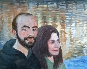 Couple Portrait - Water and light background