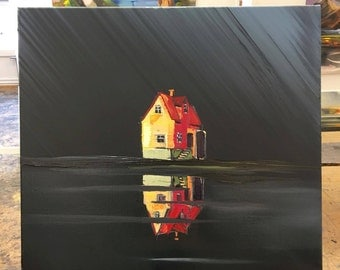 Rauða húsið (The red house) - Original painting by Tolli Morthens
