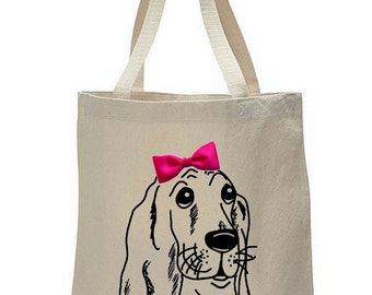 Dogs & Bow Ties: Basset Hound Canvas Tote Bag