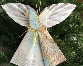 Angel of Mexico Map Ornament w/ Book Page Wings Modern - Christmas Decor Reused Books - Inspiration Prayer Angels- Angel wing