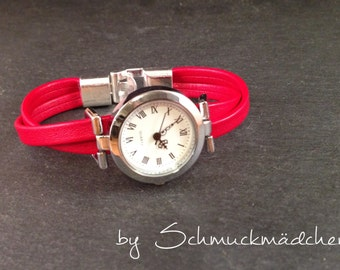 Watch leather silver Red