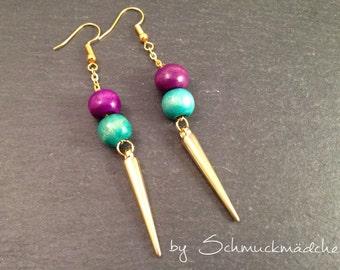 Earrings earrings gold tip