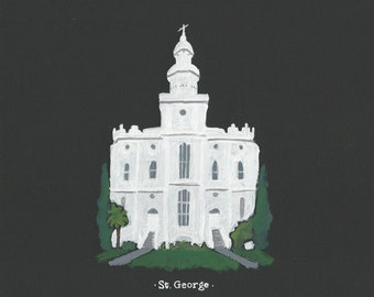 St. George LDS Temple acrylic painting