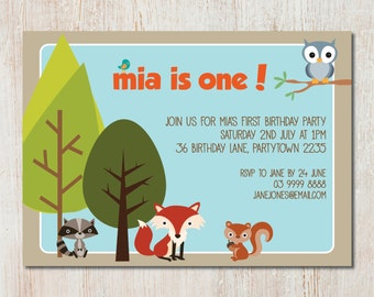 Woodland Animals Party Invitation - DIGITAL FILE