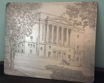 Vintage Copper Engraved Litho Plate - 1920s-1930s - Historic Dayton Masonic Temple