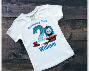 Thomas Train Birthday Tee Shirt or Bodysuit; Boys Birthday Shirt; Bodysuit and Tee's;FREE Personalization