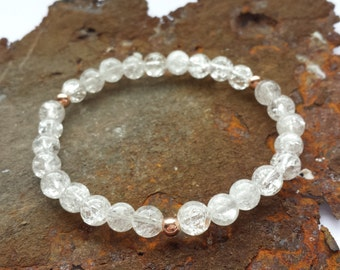 Rock crystal bracelet with rose gold elements made of 925 Silver