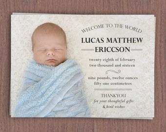 Classic Birth Announcement Card // Birth Announcement with Baby Photo // Girl's Birth Announcement // Boy's Birth Announcement