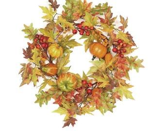 "Fall Harvest Thanksgiving Maple Leaf & Groud Wreath 24"""