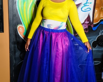 Maxi Length Tulle Skirt with Unattached Lining