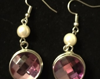 Silver Snap Earrings with Very Pretty Purple Colored Interchangeable Snaps