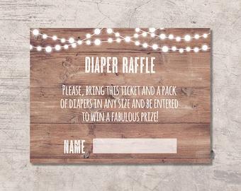 Rustic Diaper Raffle Ticket Printable, digital file instant download, baby shower card, bbq babyq, diaper raffle card, girl boy neutral