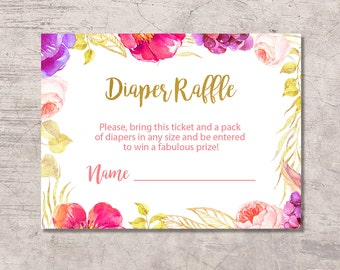 Floral Diaper Raffle Ticket Baby Shower Printable, floral gold pink, digital file instant download, floral baby shower, baby shower card