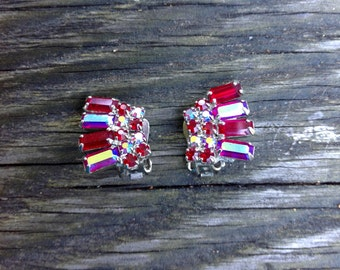 WEISS Vintage Red Aurora Borealis Rhinestone Earrings - Clip