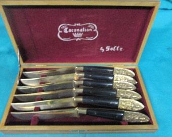 NEW Old Set BRONZE FLATWARE Horn Handle Handmade Siam knife set 6
