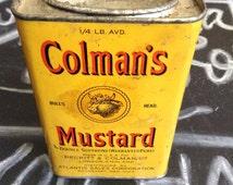 Vintage Colman's Mustard tin, vintage kitchenwares, vintage spice tin, vintage mustard tin