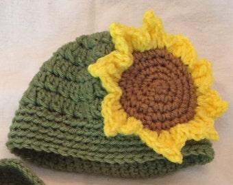 Sunflower Hat, sunflower beanie, sunflower slouchy hat