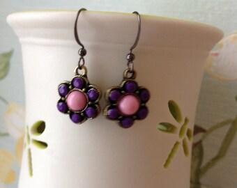 Pink and purple flower dangle earrings