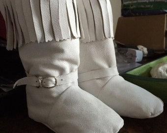 White Leather Baby Moccasin Boots