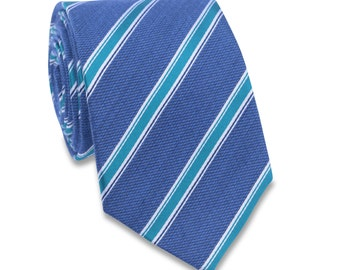25% OFF TIE SALE! Blue and green striped tie, Blue striped Nectie, Green striped Mens tie