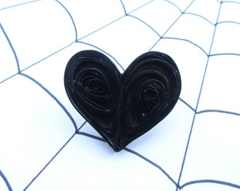 Halloween Jewellery, Quilled Brooches, Heart Brooches, Heart Jewellery, Quilled Jewellery, Pinup Brooches, Rockabilly Brooches, Goth Jewelry