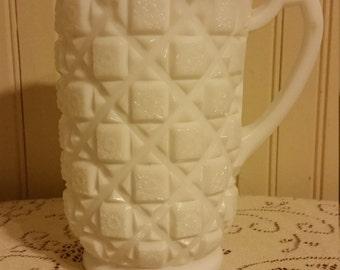 Vintage Westmoreland Milk Glass Pitcher-Old Quilt Pattern