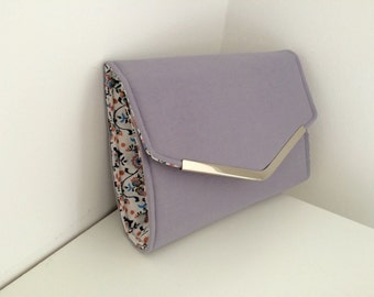 Purple/grey clutch bag, handmade