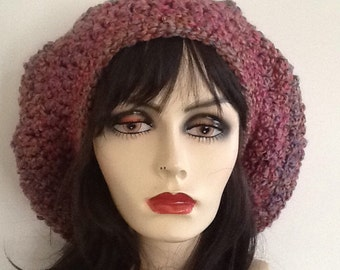 Crochet slouchy beret hat