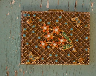 Vintage cigarette case, Beaded carved metal cigarette case, 1940's