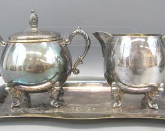 3 piece Vintage Sheridan Silver on Copper Sugar/Creamer Set    High Degree of Petina (not removed)
