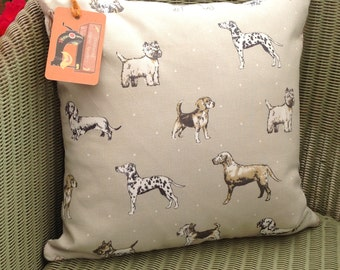 Clarke and Clarke Dogs cushion with pad