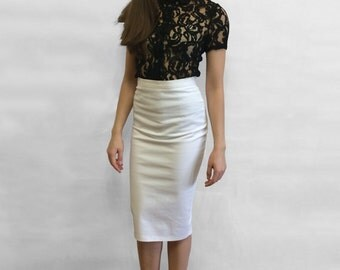 White creme pencil cotton skirt for petite